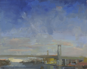 Bridge with Buildings, Clear Sky, Laura Adler