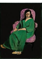 Laurette in a Green Robe, Black Background , Henri Matisse