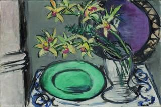 Orchideenstillleben mit grüner Schale, Max Beckmann