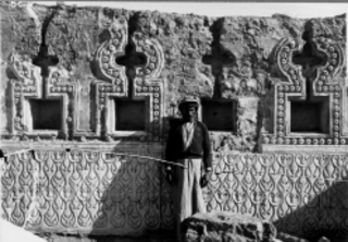 Niche wall from Palace of Balkuwara, Samarra, with carved stucco in \'Samarra style\', ,