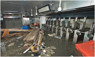 The South Ferry subway station after it was flooded by seawater during Hurricane Sandy,