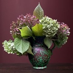November - Hydrangeas in a Green Arts & Crafts Vase,Elaine Waisglass