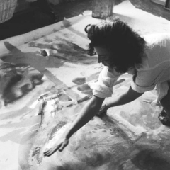 HELEN FRANKENTHALER working in her West End Avenue studio, New York ,