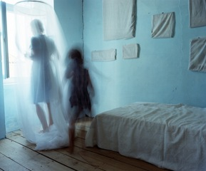 Turquoise Room and Wrapped Photographs, Samos, Bastienne Schmidt