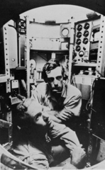 Lieutenant Don Walsh, USN, and Jacques Piccard in the bathyscaphe TRIESTE,