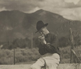 untitled john young hunter on fence smoking, Laura Gilpin