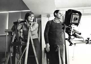 Aldo Ballo and Marirosa Toscani Ballo in their studio in Milan,
