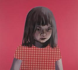Girl in red and white against pink, Claerwen James