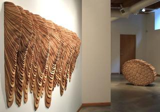 """""""Furrow"""" and untitled cedar sculpture, Ben Butler"""