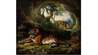 Two tigers in a rocky landscape, William Hodges