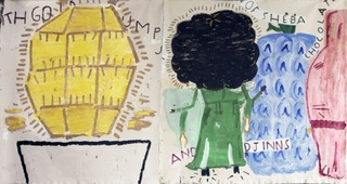 Gold Lump (lined) with Queen of Sheba, Rose Wylie