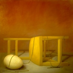 Untitled (sideways chair and egg with string), Kay Kropp
