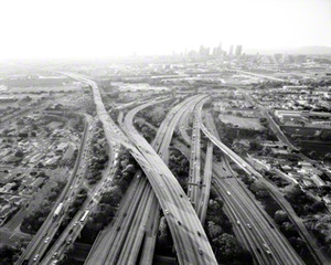 Highways 5, 10, 60, and 101 Looking West, L.A. River and Downtown Beyond, Michael Light