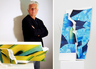 "The artist with two of his permanent works created especially for the exhibition ""Ice Break"". , Gordon Halloran"