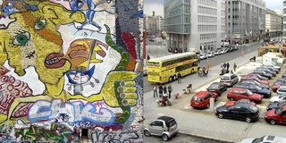 Yellow Face Graffiti - Checkpoint Charlie Car Park,