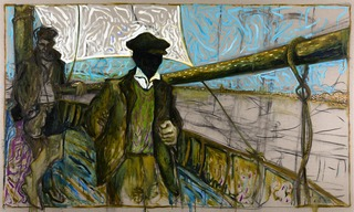 man leaning on boom (Oyster Catchers, Thames Estuary 1932) ,Billy Childish
