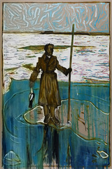 man stood on ice holding a dead duck (Off Hoo Ness, River Medway 1963)(version z) , Billy Childish