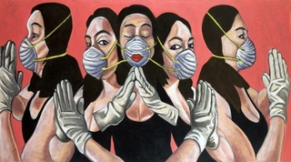 Self-Portraits Praying withn Masks and Gloves, Jane Zweibel