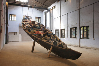 What does the vessel contain, that the river does not, Subodh Gupta