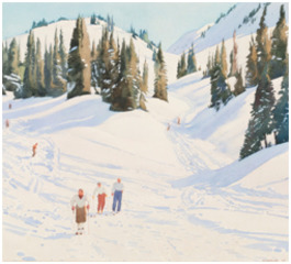 Skiers - Sunshine Village, Walter J. Phillips
