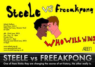 Steele vs Freeakpong exhibition flyer, Nicola Frimpong, JOSEPH STEELE
