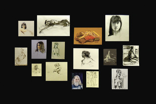 Drawing Attention 4; wall of drawings by participating artists,