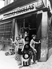 FOOD, promotional poster; photo by Richard Landry, altered by Gordon Matta-Clark / Pictured: Tinna Girouard, Carol Goodden and Gordon Matta-Clark., Gordon Matta-Clark