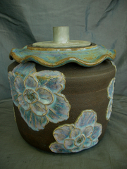 Lidded Jar with Poppies, Sally Ann Stahl