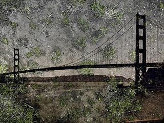 Tent-Camera Image on Ground: View of the Golden Gate Bridge from Battery Yates, Abelardo Morell