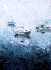 Sailboats in the fog, Marissa Calbet