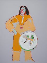Indian with Shield, Fritz Scholder