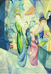 Helle Frauen vor Hutladen, August Macke