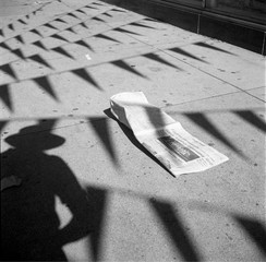 Untitled (Vivian\'s Shadow with Flags), Vivian Maier