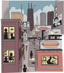 Narration of Daniel Clowes\' illustration of Chicago in 1978 done from memory as told to Chicago Magazine , Daniel Clowes