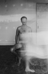 Male nude as a blind man,Logan White