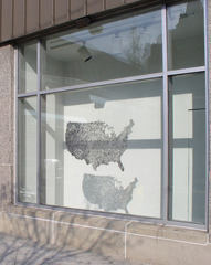 Hair Map (View of the installation at the Window on Broad, University of the Arts, Philadelphia, PA), Tamara Kostianovsky