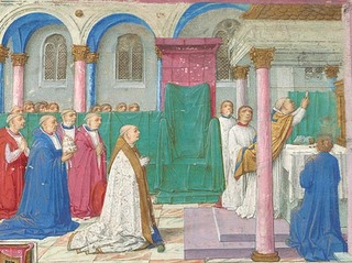 Elevation of the Eucharist, detail from the Della Rovere Missal Italy, Rome,
