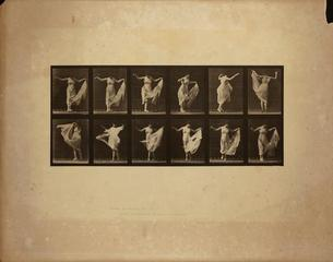 Animal Locomotion, Plate 187, (Female Figure Wearing White Gown While Dancing), Eadweard Muybridge