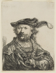 Self-portrait in a velvet cap with plume, Rembrandt