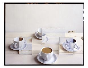 Coffee Cups and Paintings on Door, John Chervinsky