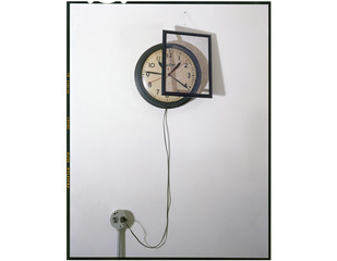 Clock, Outlet and Painting on Wall, John Chervinsky