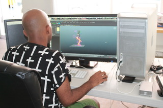 Jacolby creating characters for his project , Jacolby Satterwhite