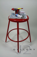 Red Stool Hand Formed, Slip Cast Ceramic, Decals, Luster 28 x 17x 17in, Kevork A. Cholkian