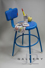 Blue Stool Hand Formed and Slip Cast Ceramic 33x 18 x 18in, Kevork A. Cholkian