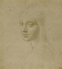 Head of a Young Woman (Study for the Angel in the 'Virgin of the Rocks'), Leonardo da Vinci