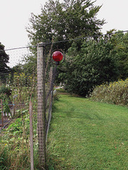 Red Orb and Fence Post, Beetleburg Farm, Chilmark, MA, Sandi Haber Fifield