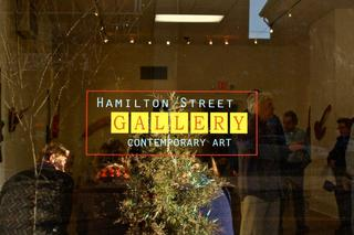 \'Requiem\' : (a passage of influence)... Outside window with gallery sign, Group Show