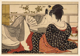 Lovers in the upstairs room of a teahouse, from Utamakura (Poem of the Pillow), Kitagawa Utamaro (d. 1806)