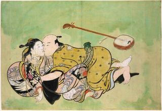 Sexual dalliance between a man and geisha, Nishikawa Sukenobu