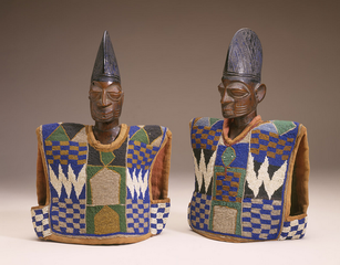 Twin memorial figures, Yoruba peoples, Nigeria,